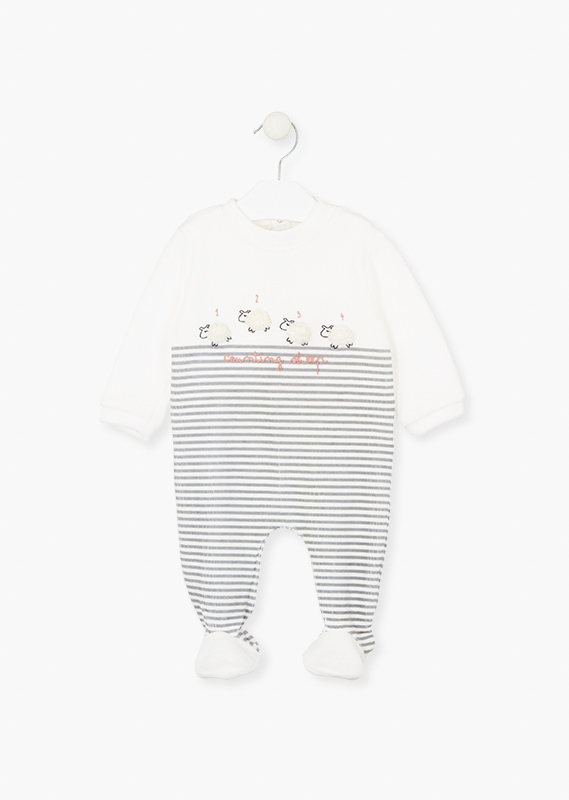 Sleepsuit with fluffy sheep patches.