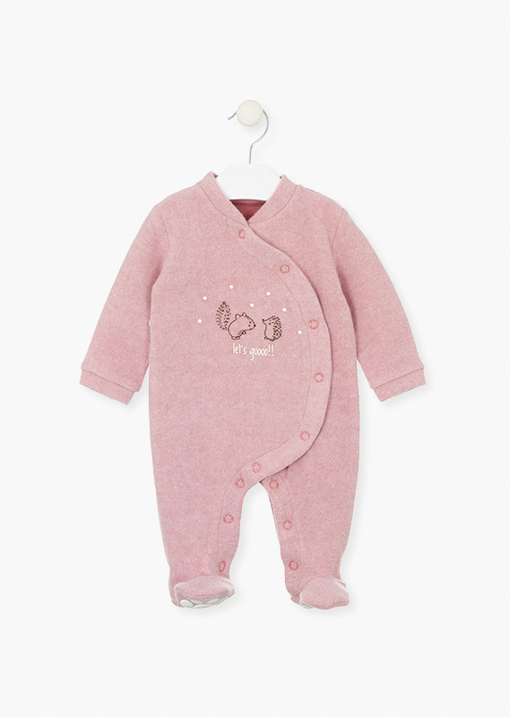 Pink plush sleepsuit with animals.