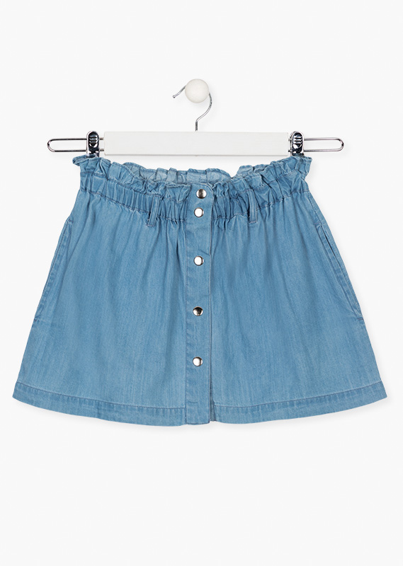 Denim skirt with press studs.