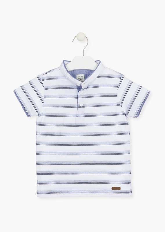 Embroidered stripe polo.