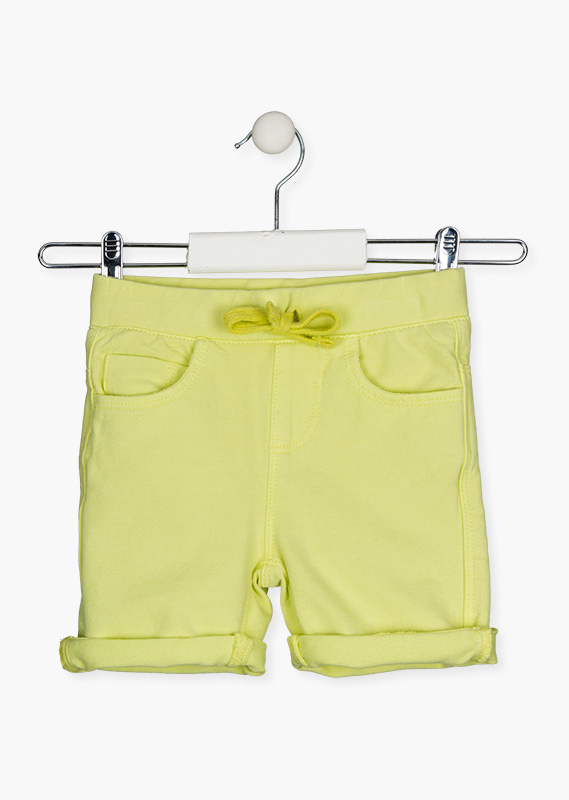 Coloured faux-denim shorts.