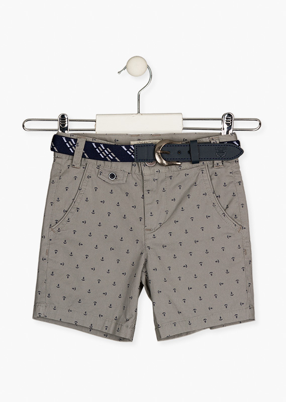 Grey shorts with printed anchors.
