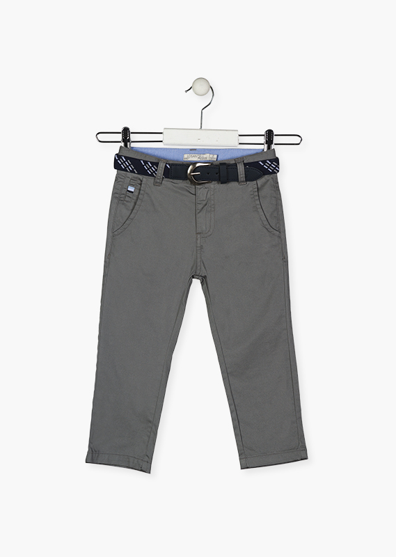 Stretch cotton trousers with belt.
