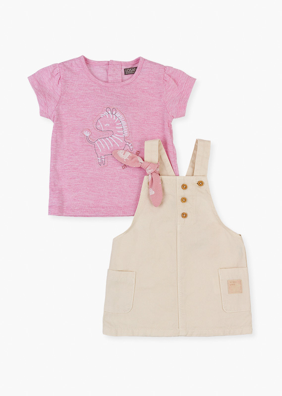 Pink patch tee & pinafore set.
