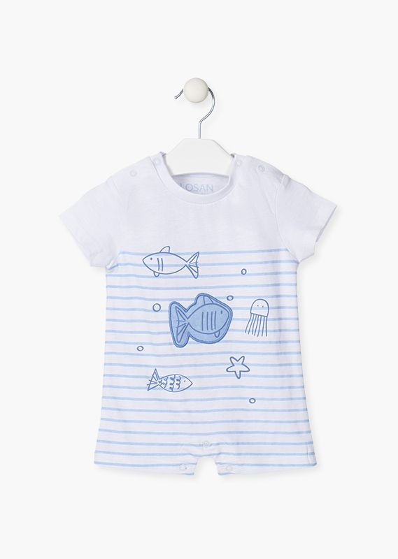 Fish patch short sleeve onesie.