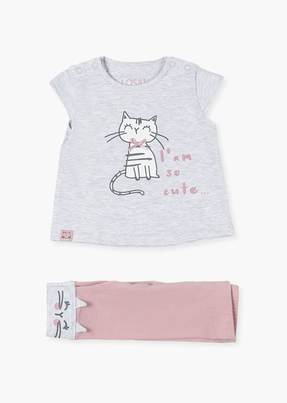 Kitten leggings & t-shirt set.