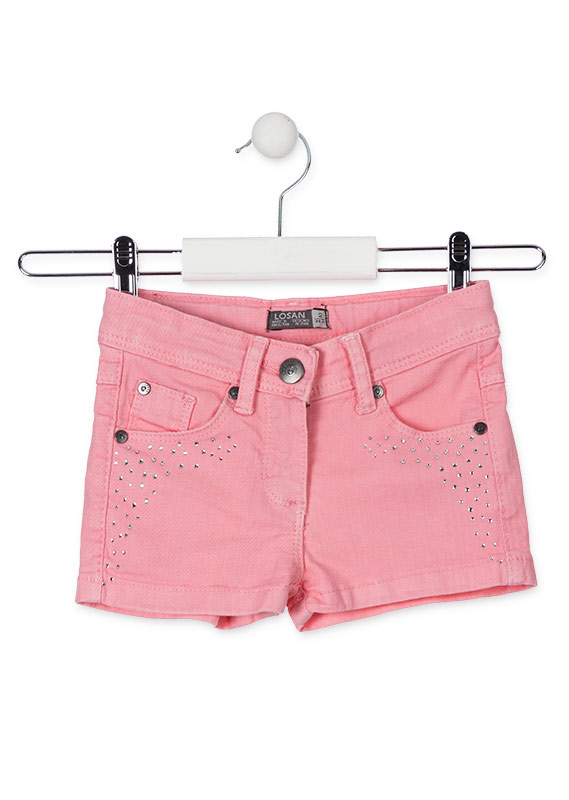 Short de sarga con brillantitos.