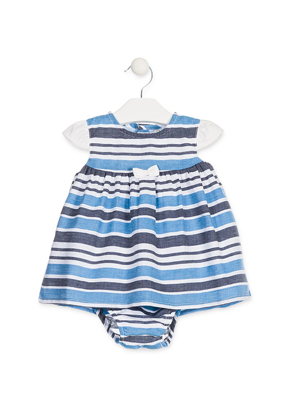Knickers And Dress In Blue Striped Poplin Losan
