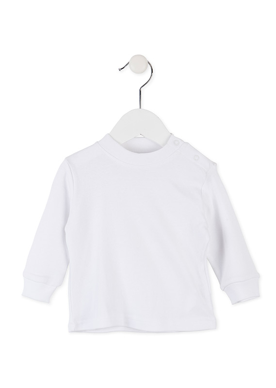 BASIC WHITE COTTON T-SHIRT.